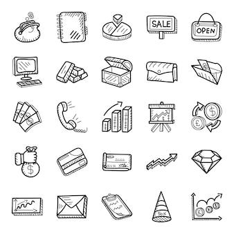 Geschäftsdaten-hand gezeichneter ikonen satz