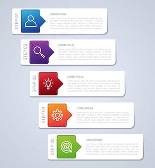 Geschäftsdatenvisualisierung, infografikschablone mit 5 schritten auf grauem hintergrund, illustration