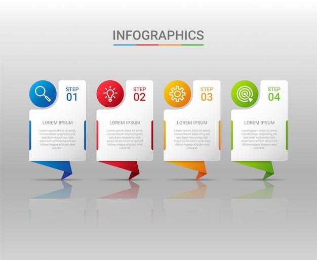 Geschäftsdatenvisualisierung, infografikschablone mit schritten auf grauem hintergrund, illustration