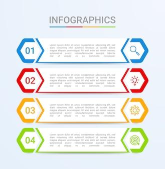 Geschäftsdatenvisualisierung, infografikvorlage mit 4 schritten auf blauem hintergrund