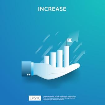 Geschäftsdiagramm an hand. einkommenslohnerhöhung. umsatz mit grafikwachstumsmargen.