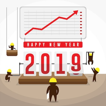 Geschäftsdiagramm mit pfeil oben und guten rutsch ins neue jahr 2019