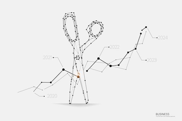 Geschäftsdiagramm mit scheren in der polygonalen wireframe art