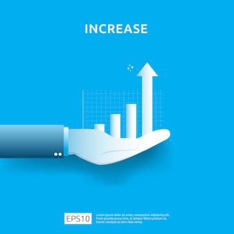 Geschäftsdiagramm zur hand. erhöhung des einkommensgehalts. umsatz mit grafischer wachstumsmarge. finanzierungsleistung des roi-konzepts der kapitalrendite mit pfeilelement. flaches design