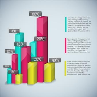 Geschäftsdiagrammvorlage mit farbigen realistischen diagrammen für präsentationen und mit beschreibungen