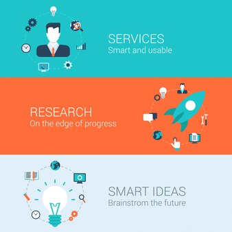 Geschäftsdienstleistungen erforschen die intelligenten eingestellten ideenillustrationen.