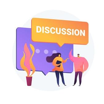Geschäftsdiskussion. mündliche kommunikation, gespräch mit kollegen, unternehmenskonferenz. verhandlungen über den aufbau einer partnerschaft. bürotreffen.