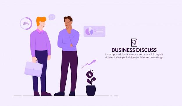 Geschäftsdiskussionskonzept, leute, die lösungsideen diskutieren