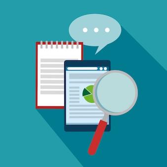 Geschäftsdokumentinformationen mit chat-blase