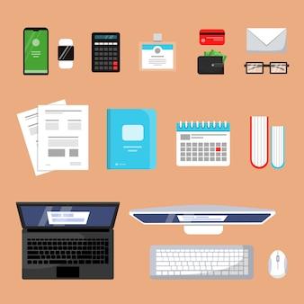 Geschäftsdraufsicht. flache bilder des finanzbelagmaterialbüroorganisations-einzelteillaptopbuchpapierarbeitsplatzes