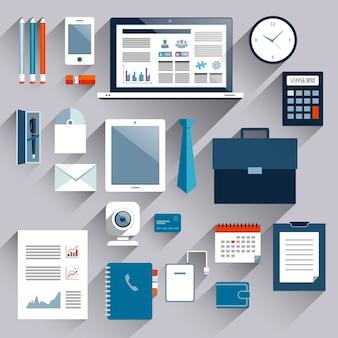 Geschäftseinzelteile und tragbare geräte eingestellt von der plastikkarte des tablettentelefonnotizbuches vector illustration