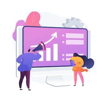 Geschäftsentwicklung. marktentwicklung, geschäftsausweitung, werbung, marketing. infografik und statistikanalyse. unternehmensleiter.