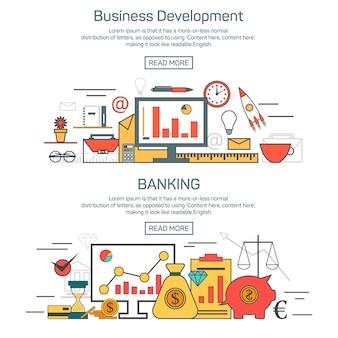 Geschäftsentwicklung und bankwesen-fahnenschablone im linearen artdesign. finanzvorlage und grafisches layout.