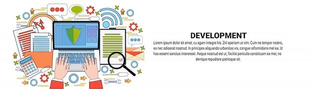 Geschäftsentwicklungs-netz-fahnenschablone unternehmenserfolgs-konzept