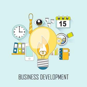 Geschäftsentwicklungskonzept: eine große glühbirne im linienstil