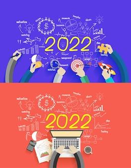 Geschäftserfolg 2022 kreatives zeichnen von diagrammen und grafiken für das neue jahr analyse und planung, beratung, teamarbeit, projektmanagement, brainstorming, forschung und entwicklung