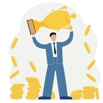 Geschäftserfolg leistungskonzept. mann feiert sieg vor dem hintergrund des pokals und der goldmünzen