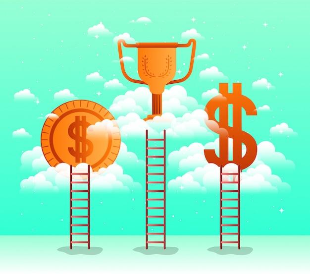 Geschäftserfolg stellen icons in den himmel mit treppe