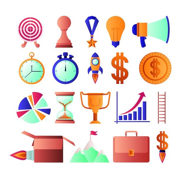 Geschäftserfolg stellen icons