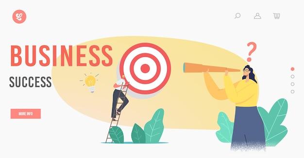 Geschäftserfolg zielseitenvorlage. business character climb ladder überwinden sie hindernisse und machen sie den nächsten schritt, um das ziel zu erreichen. zielerreichung, herausforderungsstrategie. cartoon-menschen-vektor-illustration