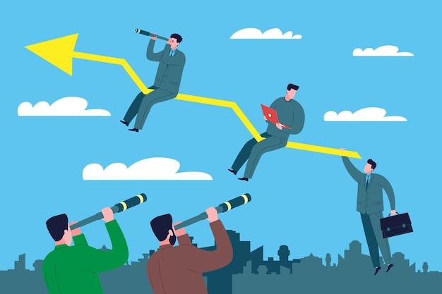 Geschäftserfolgskonzept. erfolgreiche geschäftsleute steigen in die wolken auf und erreichen die spitze, indem sie auf dem pfeil der verkaufsgrafik als symbol für das wachstum von gewinnen, aktien oder investitionen des unternehmens reiten