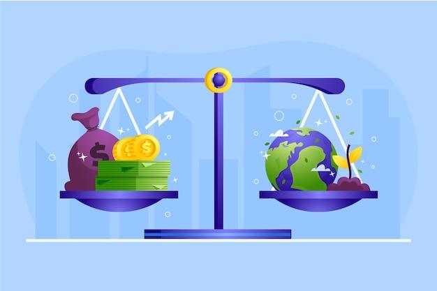 Geschäftsethikskala im gleichgewicht