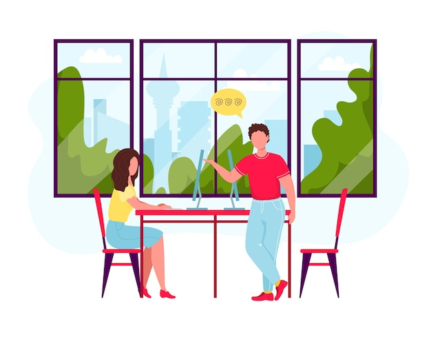 Geschäftsfiguren, die im büro arbeiten. mann und frau, die am arbeitsplatz nahe großem fenster mit stadtansicht sprechen. büroteamarbeit, brainstorming.