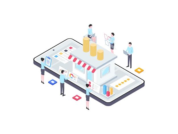 Geschäftsfinanzierung isometrische illustration. geeignet für mobile apps, websites, banner, diagramme, infografiken und andere grafische elemente.