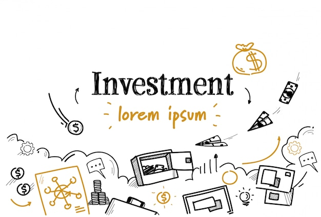 Geschäftsfinanzinvestitionsskizzengekritzel lokalisiert