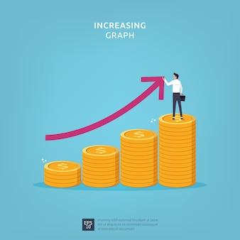 Geschäftsfinanzleistungskonzept mit geschäftsmann, der linienpfeil auf münzstapelsymbol zeichnet. abbildung des geschäftsgewinnwachstumsmarge umsatzes