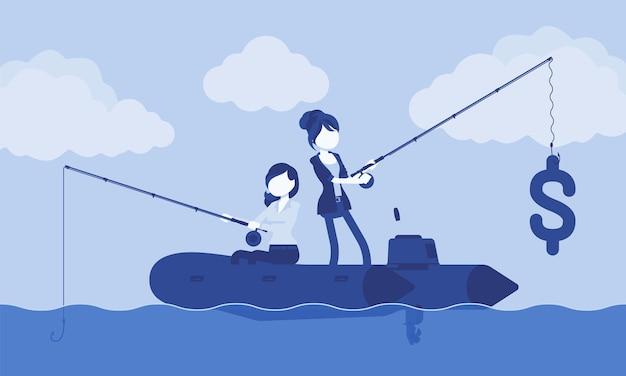 Geschäftsfischerei nach geld