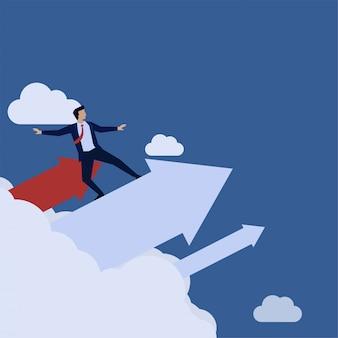 Geschäftsflache konzeptmann fliegen mit pfeil durch wolkenmetapher des erwachsenwerdens.