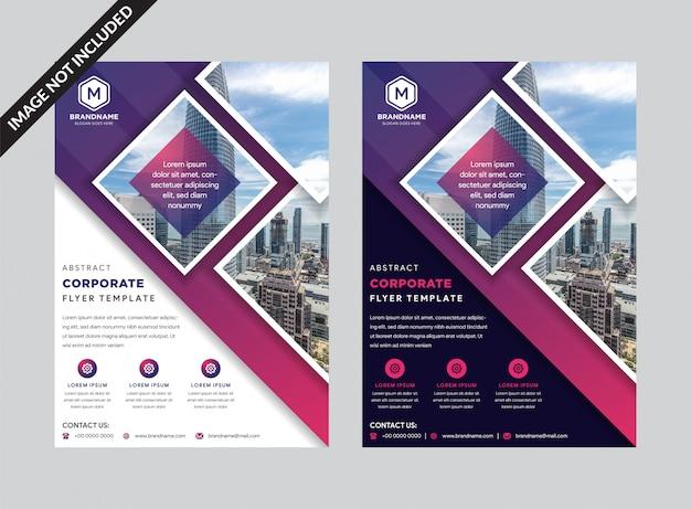 Geschäftsfliegerschablone mit purpurroten geometrischen dreieckformen