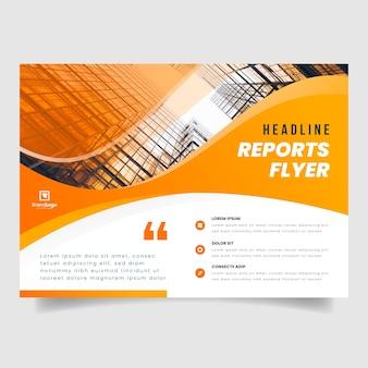 Geschäftsfliegervorlage mit foto von gebäuden