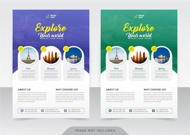 Geschäftsflyer und deckblattvorlage für reisebüro travel