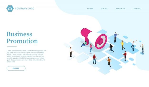 Geschäftsförderung und marketing engagement website vorlage oder landung homepage mit isometrischen stil