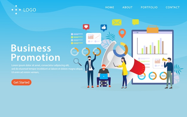 Geschäftsförderung, websiteschablone, überlagert, einfach zu redigieren und besonders anzufertigen, illustrationskonzept