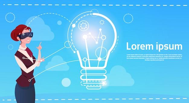 Geschäftsfrau-abnutzungs-digital-wirklichkeits-gläser neues ideen-startkonzept
