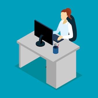 Geschäftsfrau am arbeitsplatz isometrisches design