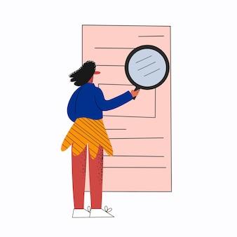 Geschäftsfrau analysiert ein dokument mit einer lupe