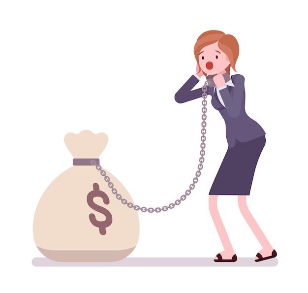 Geschäftsfrau angekettet mit einem geldsack