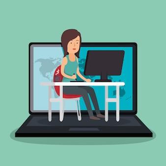 Geschäftsfrau arbeiten avatar charakter