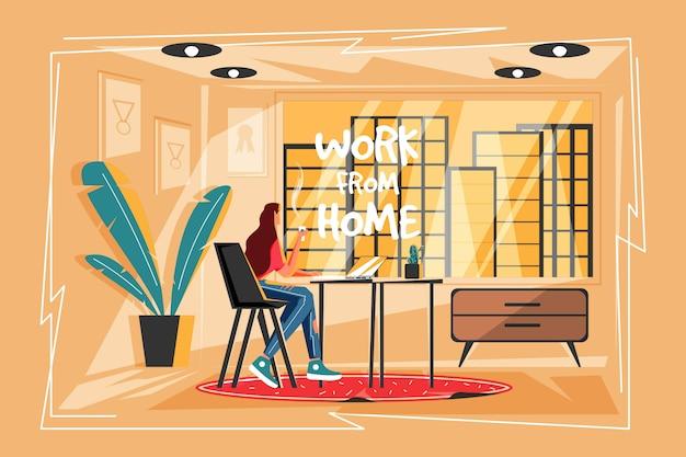 Geschäftsfrau arbeiten von zu hause aus