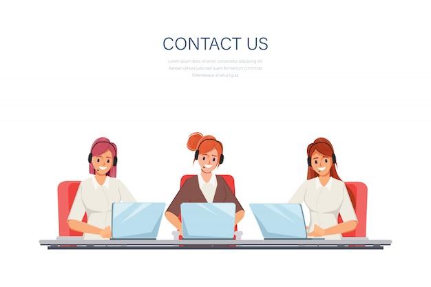 Geschäftsfrau arbeitet mit einem laptop und kommunikation. call center kundendienst job charakter.