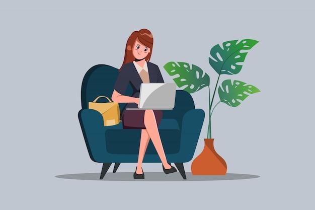 Geschäftsfrau arbeitet von zu hause aus, um die verbreitung des coronavirus zu vermeiden. frauenfigur mit einem laptop am sofa.