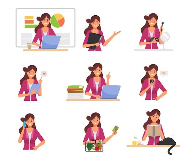 Geschäftsfrau-arbeitsroutinecharakterhaltung.