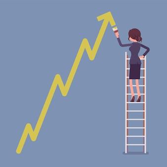 Geschäftsfrau auf leiter, die positiven dynamik kletterenden pfeil zeichnet