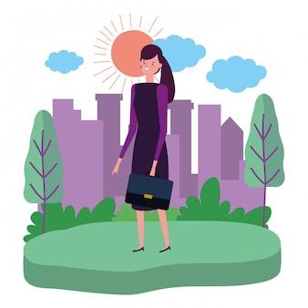 Geschäftsfrau avatar mit koffer