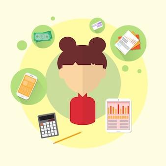 Geschäftsfrau bank office worker icon flat