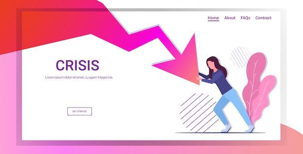 Geschäftsfrau bankrott halten wirtschaftlichen roten pfeil fallen geschäftsgewinn verlust finanzkrise
